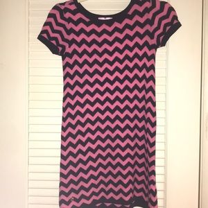 Girls large pink and navy blue casual dress